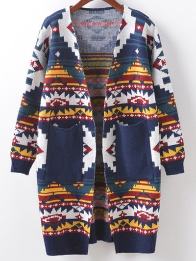 Argyle Cocoon Cardigan - CADETBLUE ONE SIZE Mobile