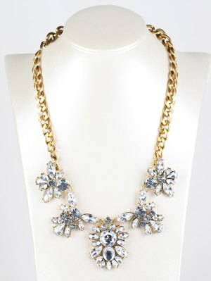 Fake Crystal Pendant Necklace - Golden
