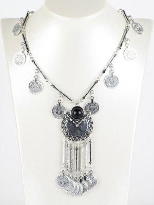Coin Fringe Necklace - Black