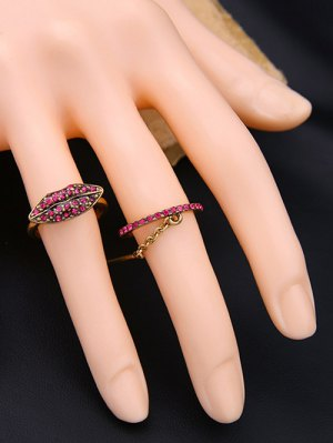 Vintage Rhinestone Lips Shape Ring Set - Golden