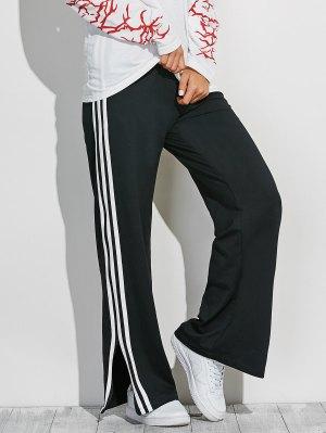 Side Slit Wide Leg Pants - Black