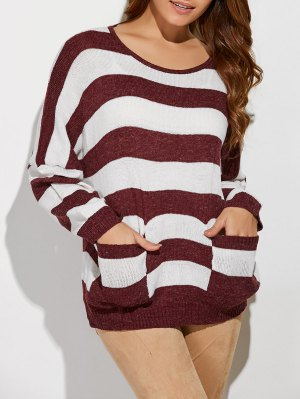 Scoop Neck Striped Pockets Sweater - Red With White