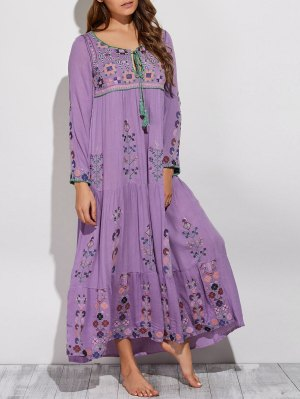 Scoop Neck Embroidered Swing Maxi Dress - Purple
