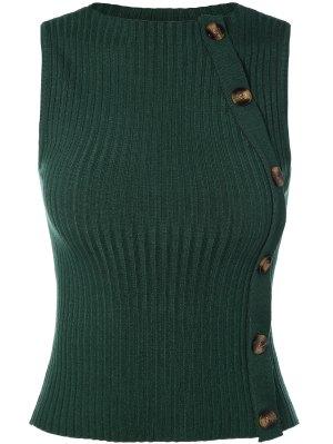 Button Embellished Sweater Vest - Green
