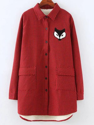 Plus Size Fleece Lining Fox Checkered Shirt - Red