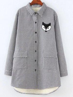 Plus Size Fleece Lining Fox Checkered Shirt - Gray