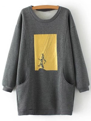 Plus Size Shadow Puppet Long Sweatshirt - Gray