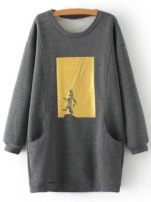 Plus Size Shadow Puppet Long Sweatshirt - Gray