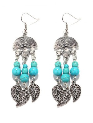 Bohemian Turquoise Leaf Chandelier Earrings - Turquoise Green
