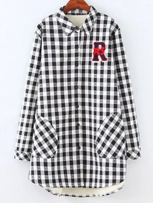 Plus Size Fleece Lining Checked Shirt - White And Black