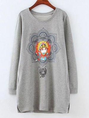 Opera Mask Print Plus Size Sweatshirt - Gray
