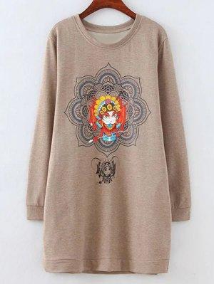 Opera Mask Print Plus Size Sweatshirt - Light Coffee