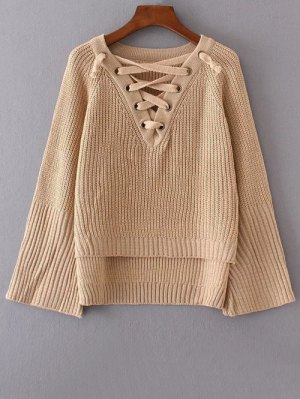 High Low Lace Up Sweater - Khaki