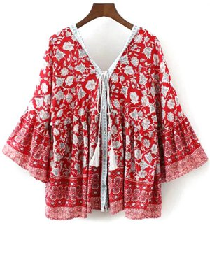 Floral Print Bell Sleeve Boho Top - Red