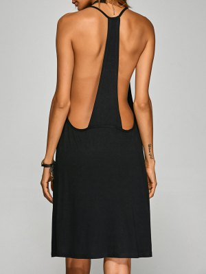 Racerback Knee Length Club Cami Dress - Black