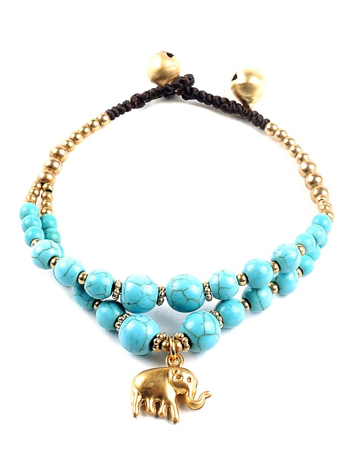 Elephant Turquoise Bell BraceletAccessories<br><br><br>Color: TURQUOISE