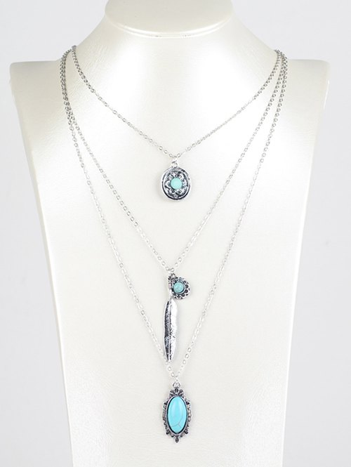 Faux Turquoise Layered Pendant Necklace