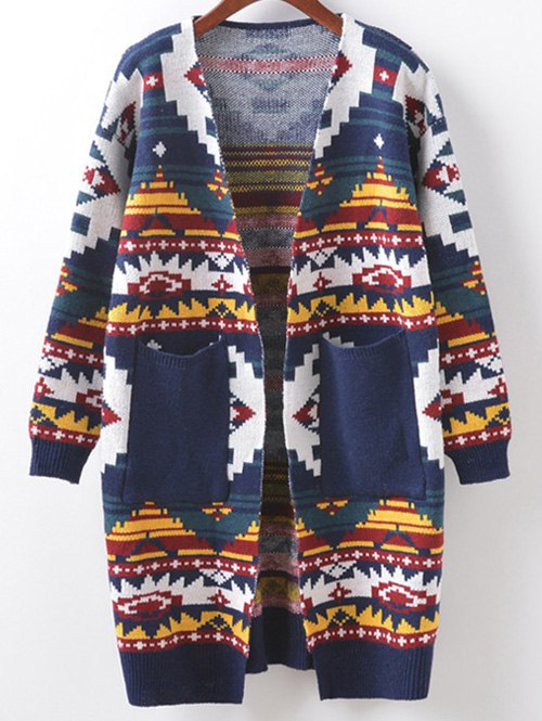 Buttonless Argyle Cocoon Cardigan