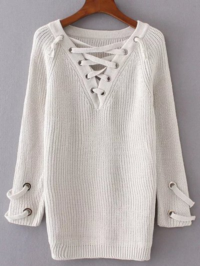V Neck Lace Up Long Sweater