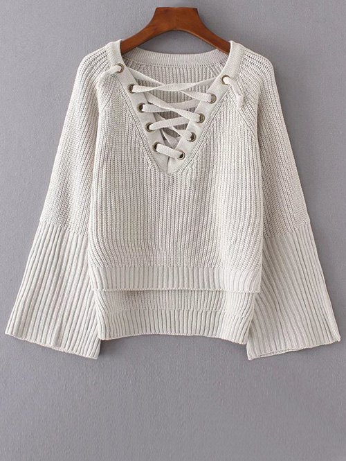 High Low Lace Up Knitwear