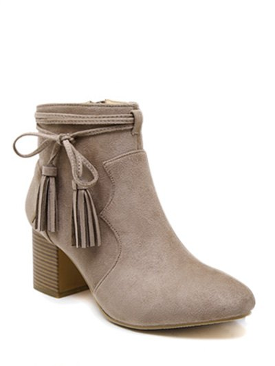 Tassels Zipper Ankle Boots