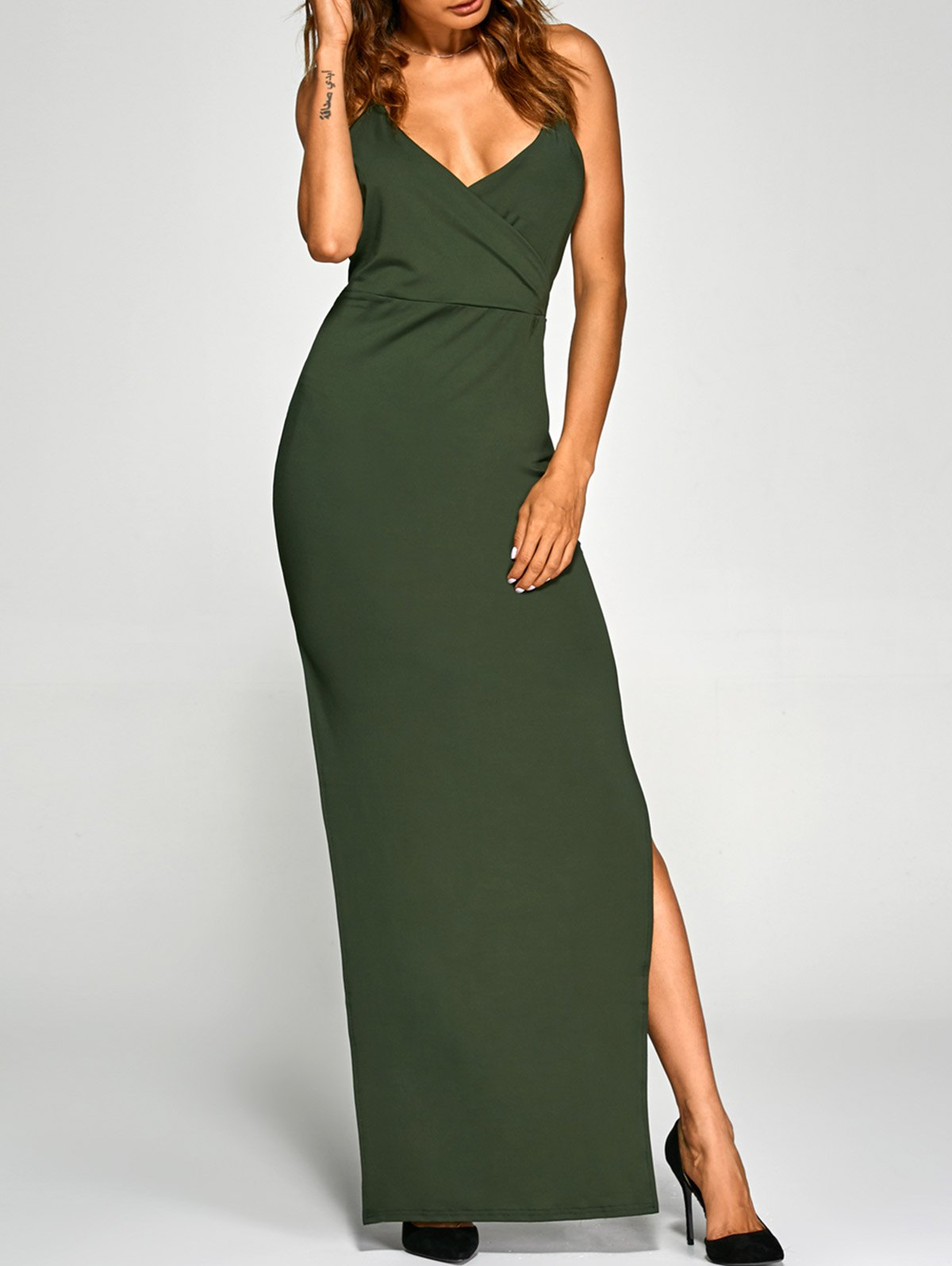 Back Criss High Slit Surplice Maxi Slip Dress