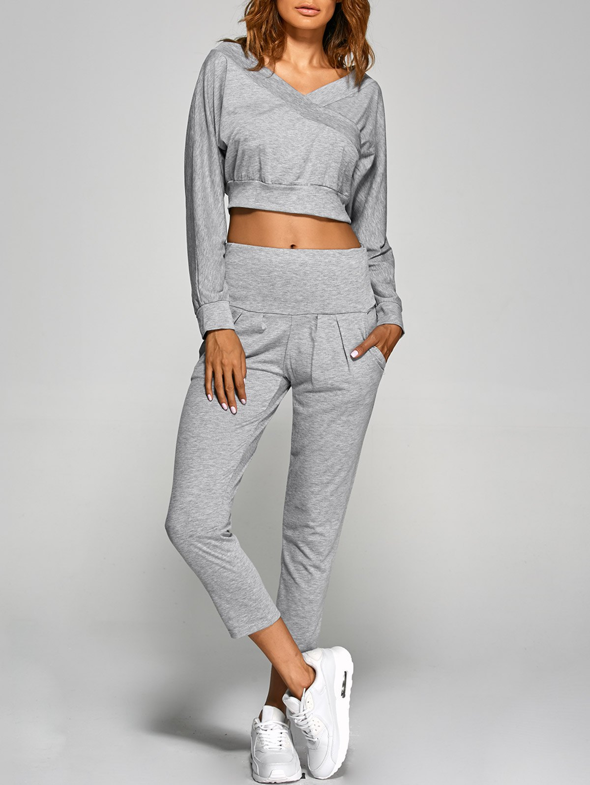 V Neck Back Cut Out Crop Top With Pants Twinset