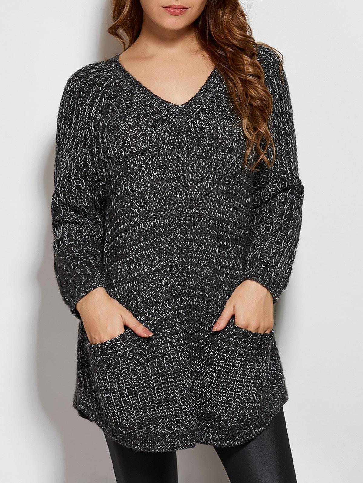 V Neck Pockets Sweater