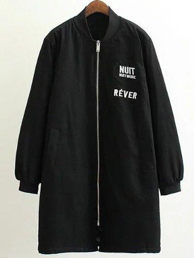 Stand Neck Letter Embroidered Cotton Linen CoatClothes<br><br><br>Size: 3XL<br>Color: BLACK