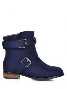 Flat Heel Round Toe Buckles Short Boots - Deep Blue