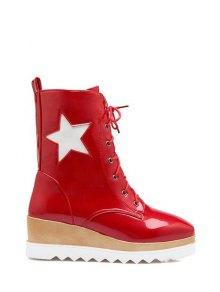 Buy Star Pattern Platform Square Toe Short Boots 39 RED