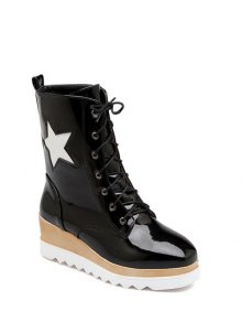 Star Pattern Platform Square Toe Short Boots - Black