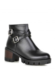 Buy Double Buckle Cross Straps Zipper Ankle Boots - BLACK 38