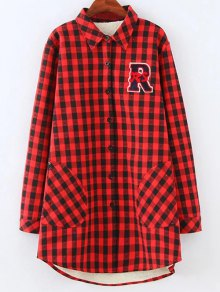 Plus Size Fleece Lining Checked Shirt
