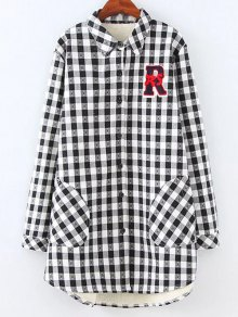Plus Size Fleece Lining Checked Shirt
