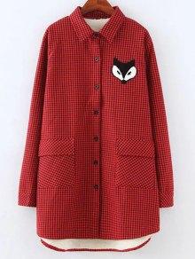 Plus Size Fleece Lining Fox Checkered Shirt - Red 4xl