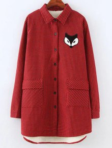 Plus Size Fleece Lining Fox Checkered Shirt