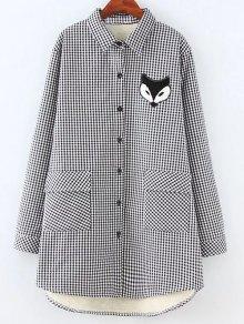 Plus Size Fleece Lining Fox Checkered Shirt
