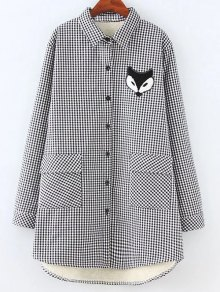 Plus Size Fleece Lining Fox Checkered Shirt - Gray Xl