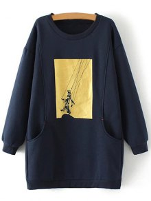 Plus Size Shadow Puppet Long Sweatshirt