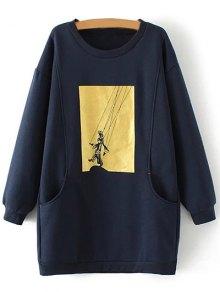 Plus Size Shadow Puppet Long Sweatshirt