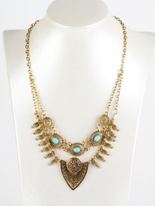 Faux Turquoise Shield Necklace