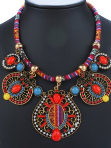 Rhinestone Enamel Geometric Necklace