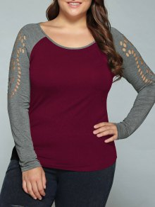 Plus Size Raglan Sleeves Hollow Out T-Shirt - Wine Red 2xl