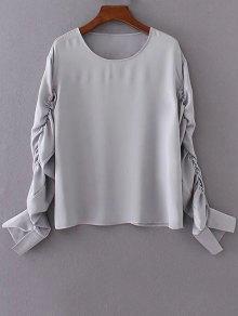 Shirred Sleeve Chiffon Top