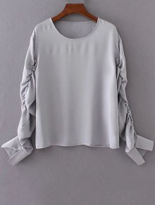 Shirred Sleeve Chiffon Top