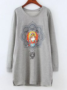 Opera Mask Print Plus Size Sweatshirt