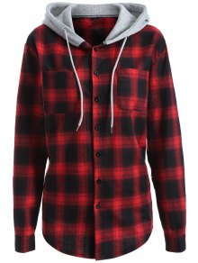 Hooded Checked Shirt - Red L