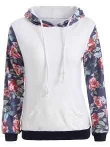 Floral Pattern Pocket Hoodie