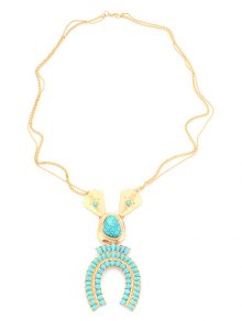 Bohemian Faux Turquoise Sweater Chain - Golden